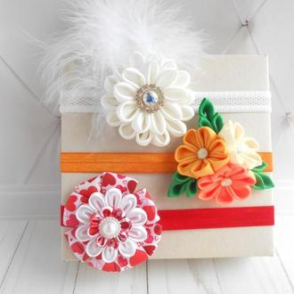 Набор цветочных повязок на голову для малышки Подарок на годик Красивое украшение для волос девочке
