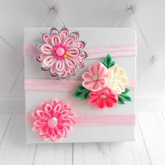 Набор розовых повязок для девочки Подарок на годик для малышки Красивые цветочные повязки на голову