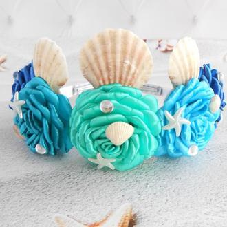 Корона русалки подарок на день рождение для девочки Ободок тиара для фотосессии Обруч с цветами