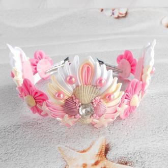 Розовая корона русалки для фотосессии Ободок тиара на голову Обруч для волос Подарок девочке