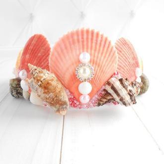 Корона русалки с ракушек для фотосессии Ободок тиара на голову Обруч для волос Подарок девочке