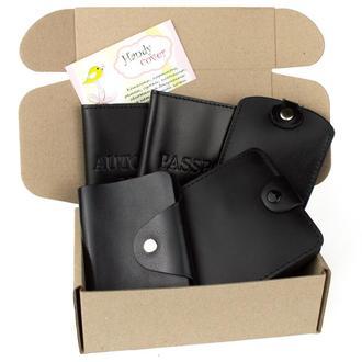 Подарочный набор №23 (черный): обложка на паспорт + на права + картхолдер + ключница + портмоне