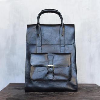 Женская сумка-рюкзак из глянцевой кожи