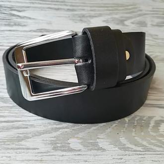Мужской кожаный ремень черный (для больших мужчин)