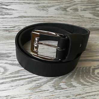 Мужской кожаный ремень черный (шириной 3,6 см) с пряжкой барабан