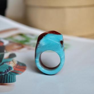 Перстень з дерева, кільце з смоли і дерева, подарунок для подруги