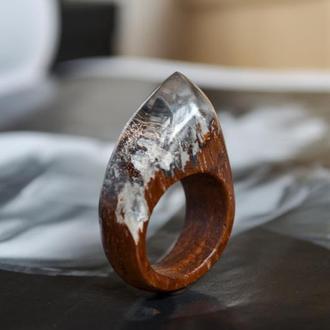 Перстень с горами, перстень из дерева и смолы, подарок для любимого