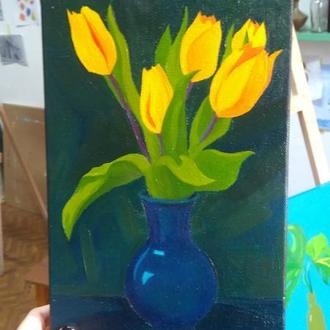"""Картина маслом на холсте """"Тюльпаны"""""""