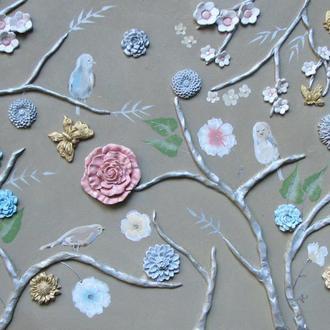 панно, цветы, птицы