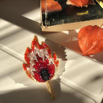 Брошь Горящая Спичка из бусин, бисера и кристаллов