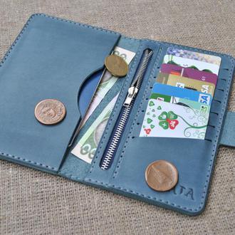 Синий кошелек из винтажной кожи K65-660