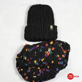 Вязаные шарф-снуд и шапка