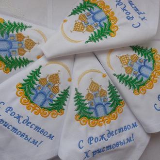 Набор рождественских севировочных салфеток из хлопка с вышивкой  6шт.