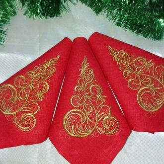 Набор новогодних салфеток из льна с вышивкой  6шт.