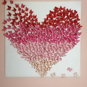 """Панно """"Сердце из бабочек"""""""