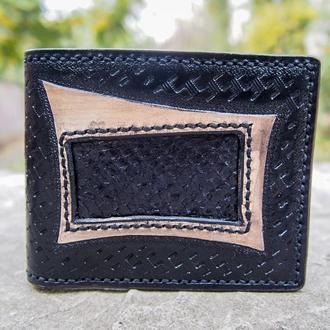 Черный бумажник, мужское портмоне, черный кошелек, кошелек из рыбы
