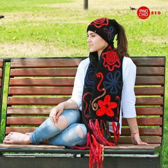Вязаные шарф с валяным рисунком и шапка Ponytail