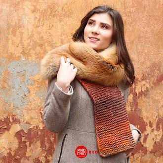 Вязаный шарф с натуральным мехом лисы