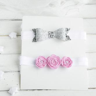 Повязка для малышки с цветами, Красивая детская повязка на день рождения