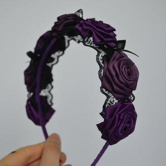 Украшение ободок с розами для волос, обруч на голову, венок, цветы.