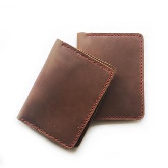 Кошелек на паспорт из винтажной кожи