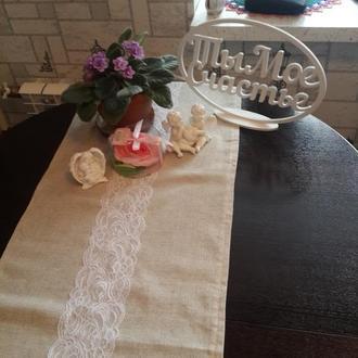 Скатерть дорожка, салфетки и декоративное сердце в подарок