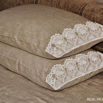 Льняное постельное белье с кружевом ручной работы