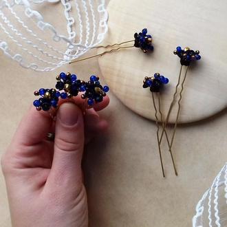 Темно синие с золотом шпильки, шпильки для волос, шпильки с цветами, подарок девушке
