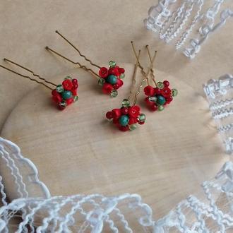 Красно зеленые шпильки, шпильки для волос, шпильки с цветами, подарок девушке