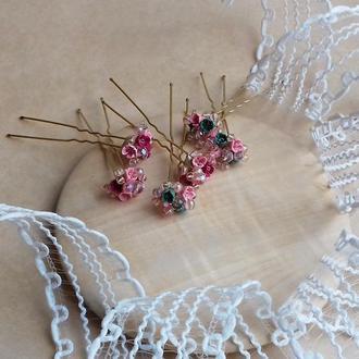 Розовые шпильки, шпильки для волос, шпильки с цветами, подарок девушке