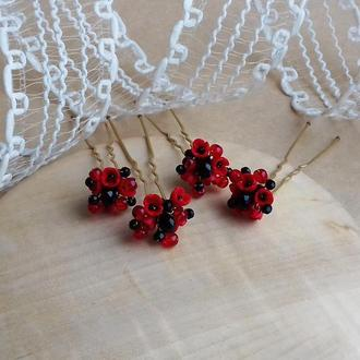 Красно черные шпильки, шпильки для волос, шпильки с цветами, подарок девушке