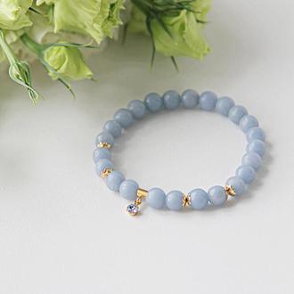 Голубой браслет с подвеской Swarovski, подарок девушке