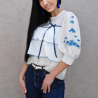 "Нарядная блузка с вышивкой ""Незабудки"" вышиванка, вышитая блузка"
