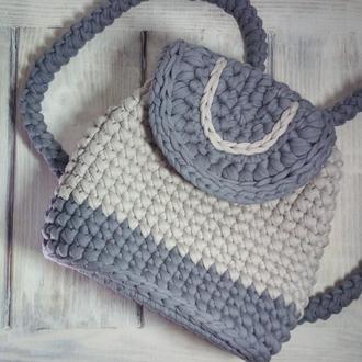Рюкзак из трикотажной пряжи с прозрачным донышком