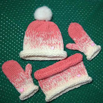 Комплект шапка, снуд, варежки детский из толстой пряжи