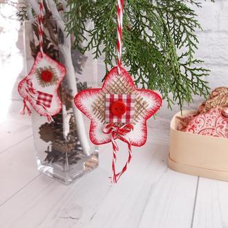 Новогодний сувенир, новогодняя игрушка на ёлку звездочка,  ялинкова прикраса іграшка
