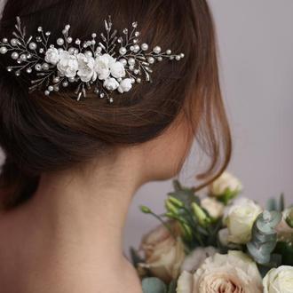 Свадебное украшение в прическу. Свадебный гребень  с цветами. Свадебный гребешок