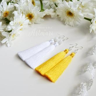 Шелковые серьги-кисти Ярко-желтые