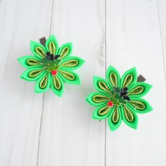 Набор новогодних заколок с цветами для фотосессии Подарок для девочки Украшение для волос канзаши