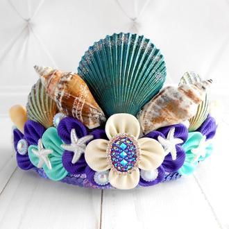 Корона русалочки для девочки на фотосессию Обруч для волос в подарок Ободок к костюму русалки