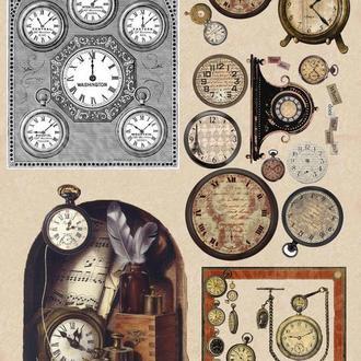 Декупажная карта Ретро Механизм Часы  Винтаж 109V 55 г/м2, А4, 210Х290 мм