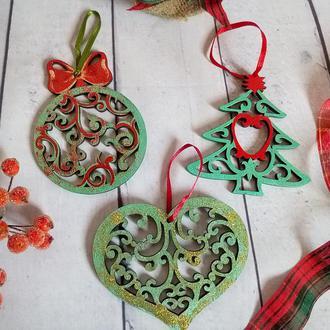 Новогодние елочные украшения Набор елочных игрушек Деревянные новогодние игрушки на елку