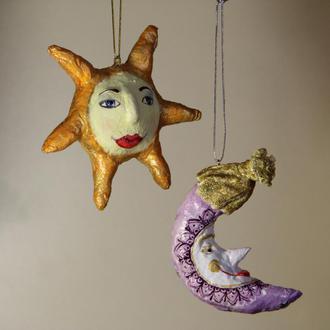 Ватные елочные игрушки Месяц и Солнце