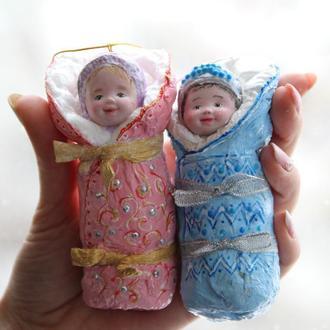 Ватные елочные игрушки Малыши