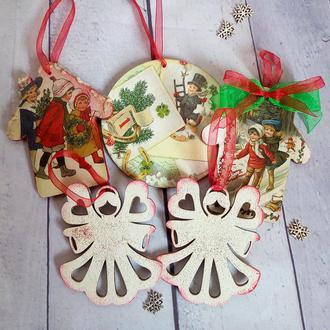 Новогодние елочные игрушки винтаж Подарочный набор новогодних игрушек Рождественские ангелы на елку