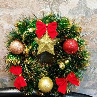 Рождественский венок, новогодний венок, декор на новый год, подарок на новый год
