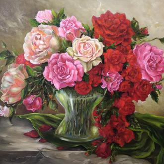 "Картина маслом ""Букет роз"""