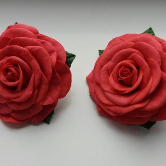 """Резинки """"Красные розы"""", резиночки «Червоні троянди», квіти з фоамірану"""