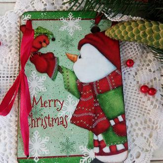 Новогодняя открытка на деревянной основе