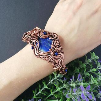 Медный браслет с лазуритом Море. Широкий браслетс синим камнем. Подарок женщине. Wire wrap
